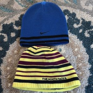 The North Face and Nike boys hats